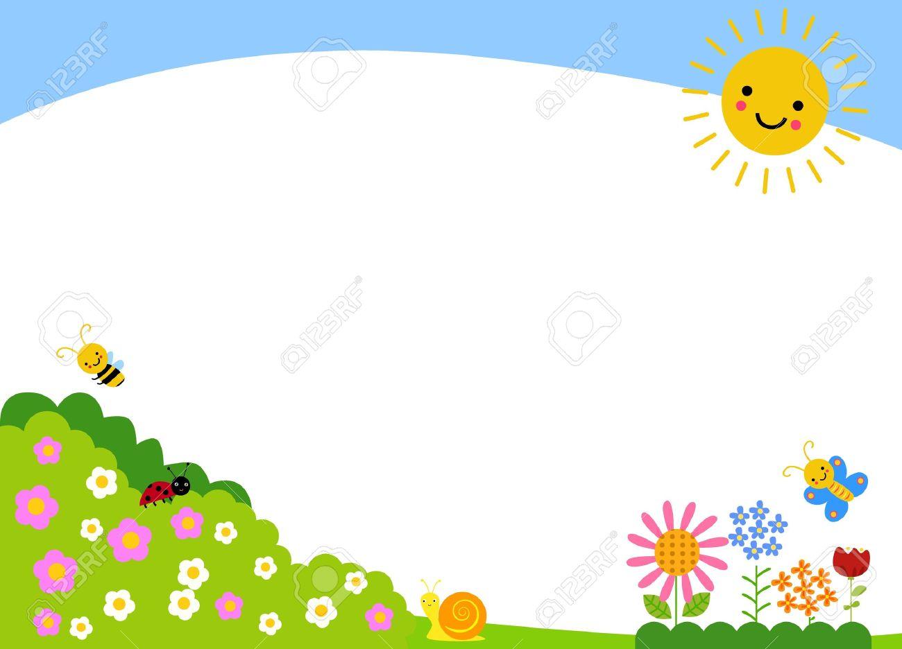 Garden Border Background Cute Spring Stock Vector 18788652 W