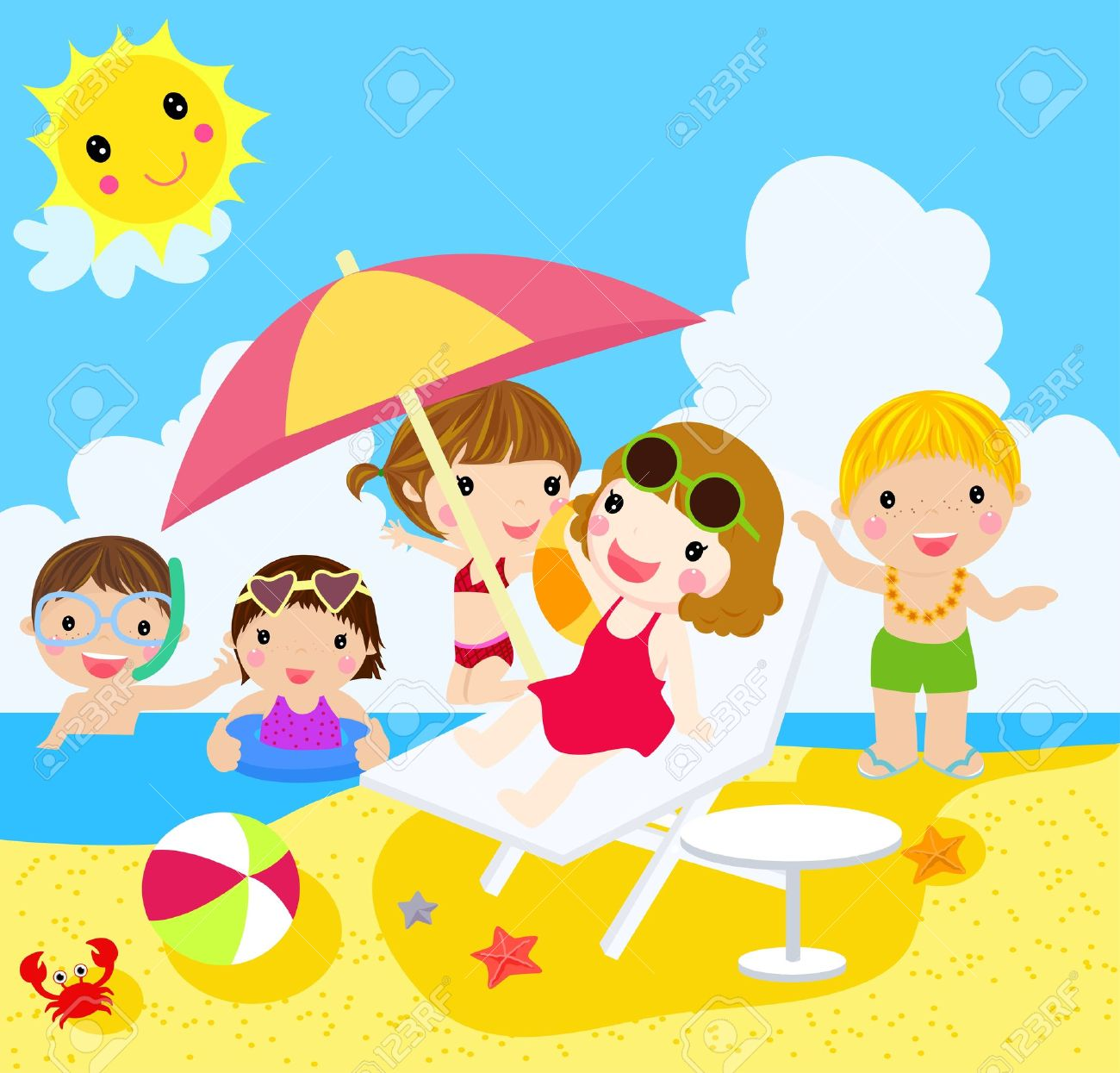 Beach With People Clipart On Stock Vector 16967697