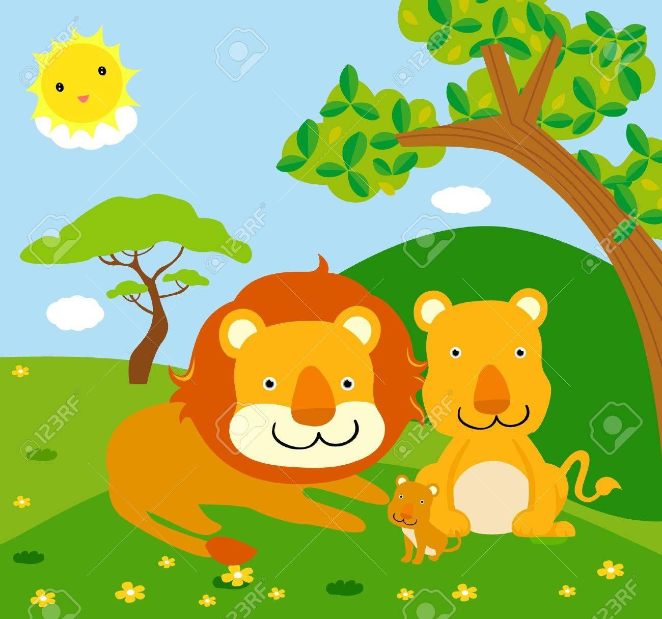 lion family, wild animals Stock Vector - 16333204