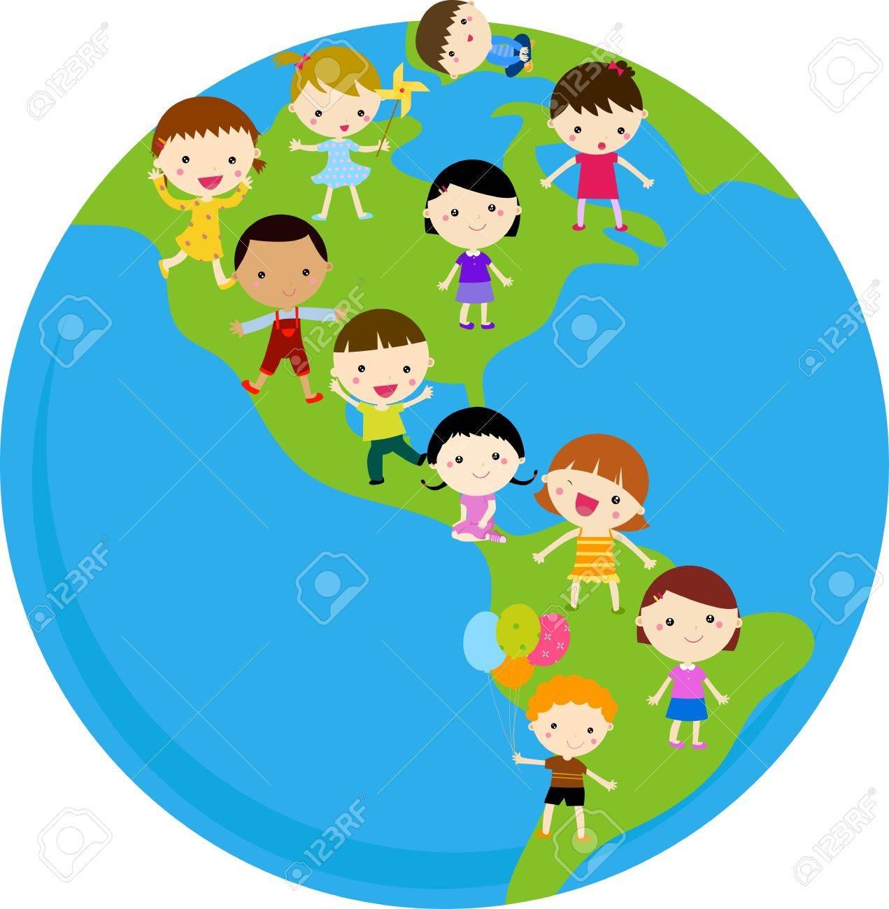 Kids On The Globe Stock Vector - 16964984