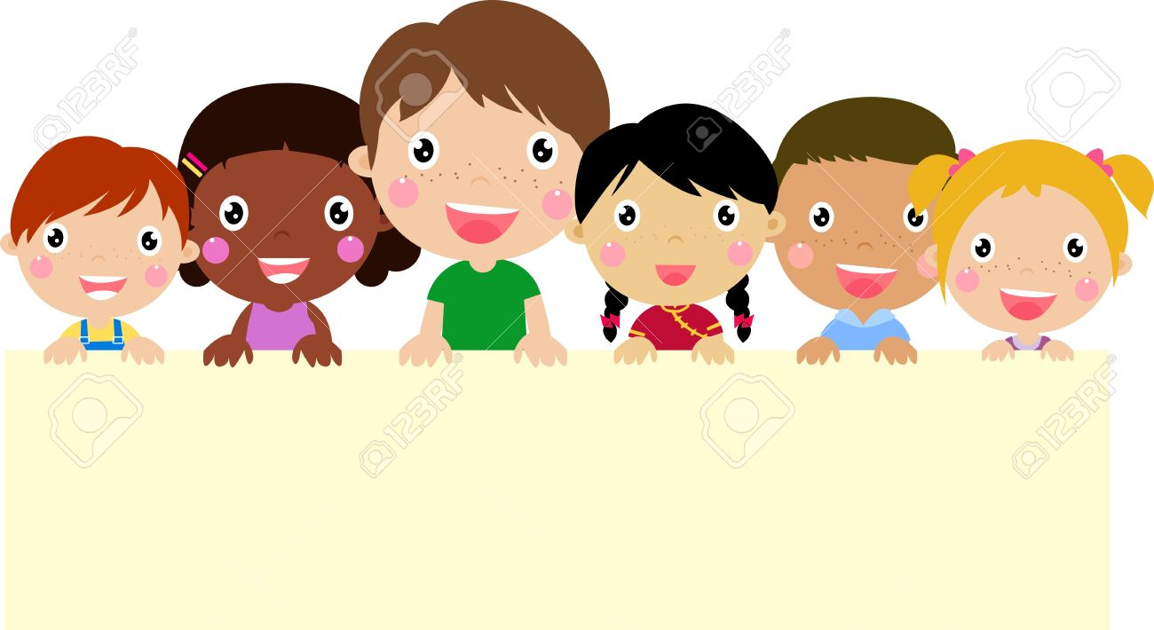 Group of children and banner - 21152142