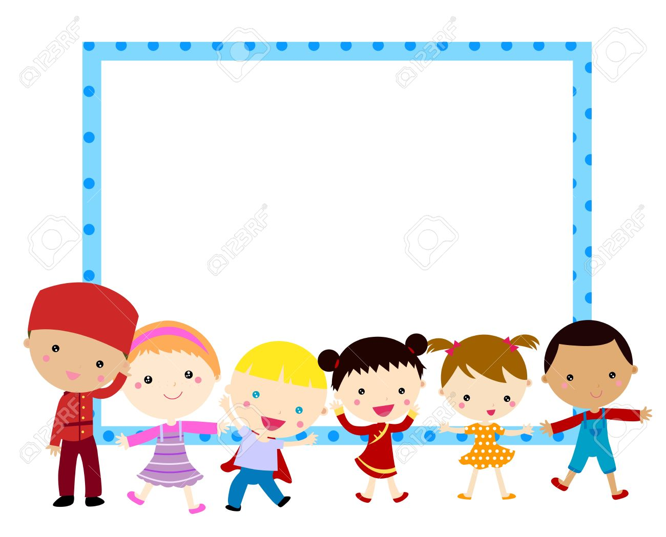 Cute Cartoon Kids Frame Royalty Free Cliparts, Vectors, And Stock ...
