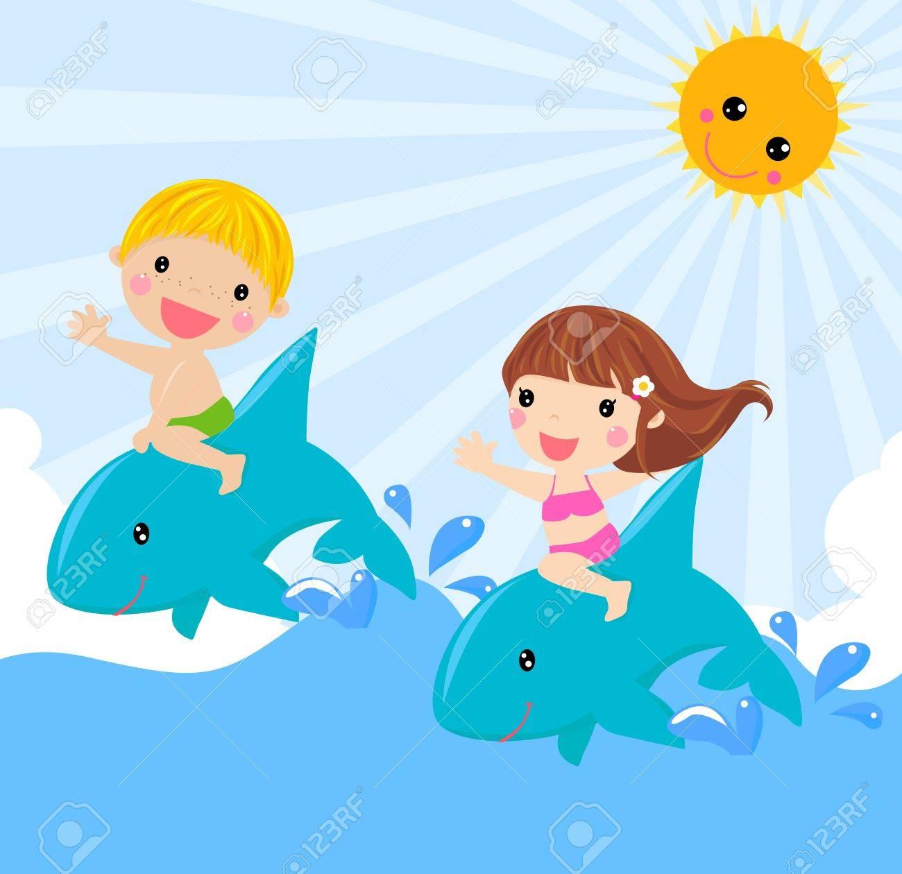kids sitting on dolphin vector illustration royalty free
