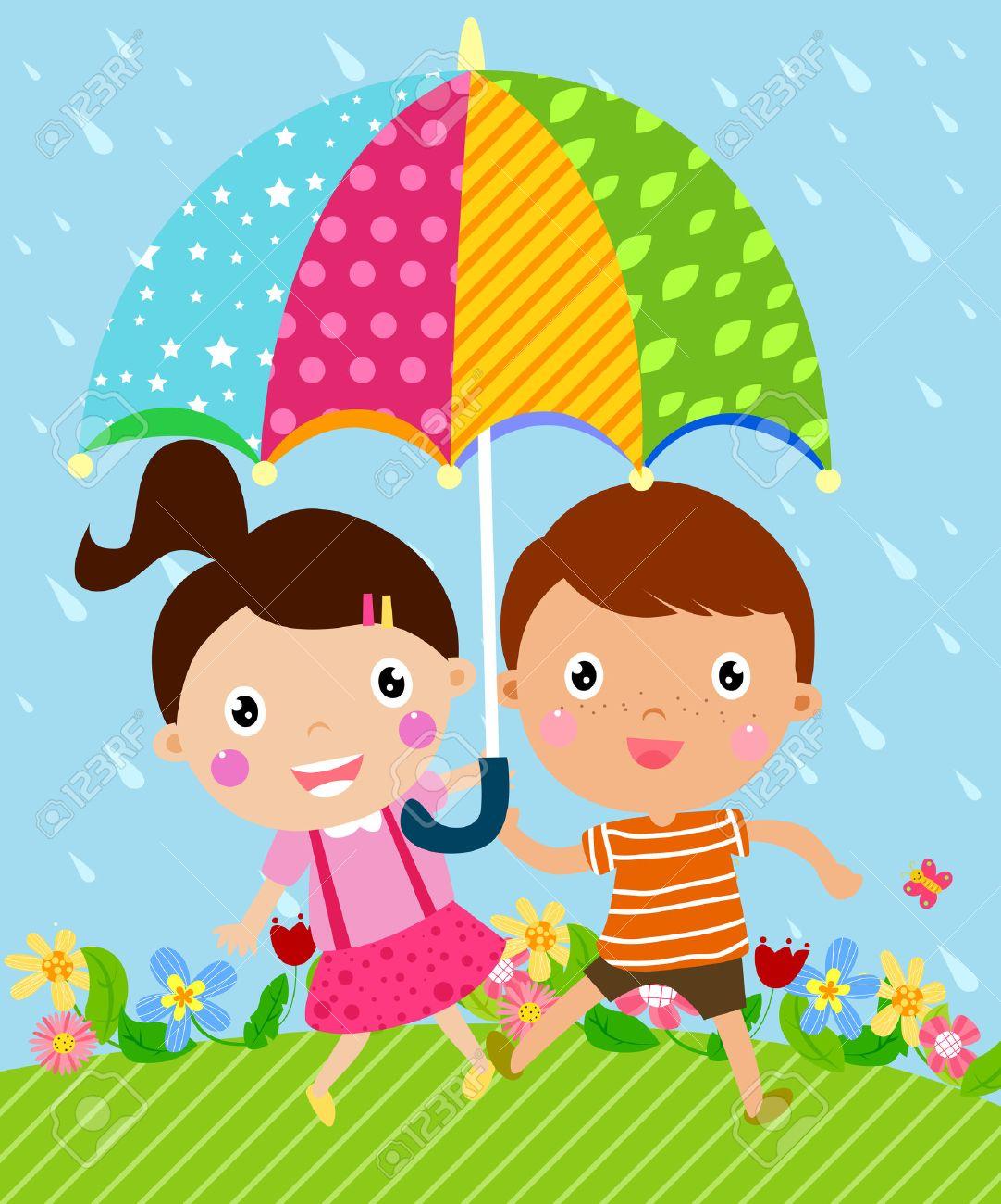 Kids and umbrella Stock Vector - 24013671