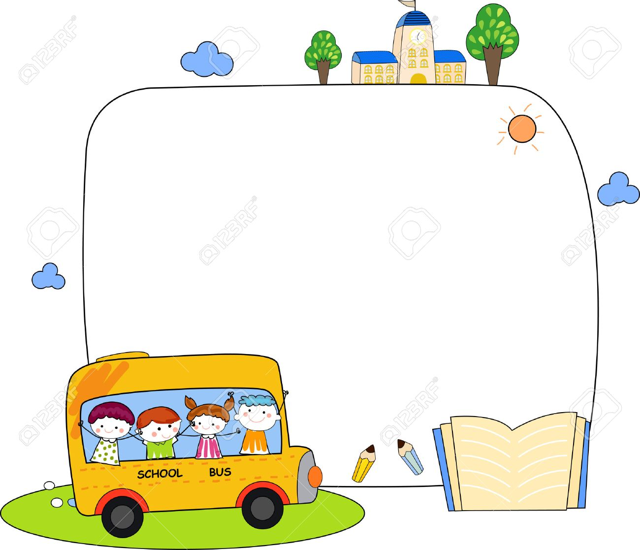 Cute Cartoon Kids And School Bus Frame Royalty Free Cliparts ...