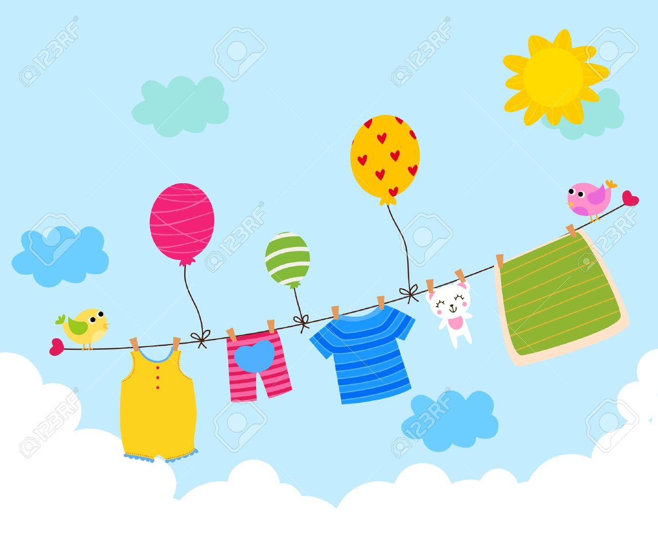 Kinderkleidung auf wäscheleine  Baby-Kleider Hängen An Der Wäscheleine Lizenzfrei Nutzbare ...