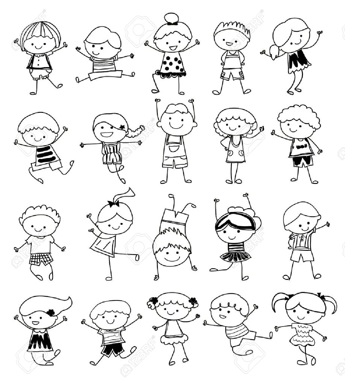 drawing sketch group of kids stock vector 33674250