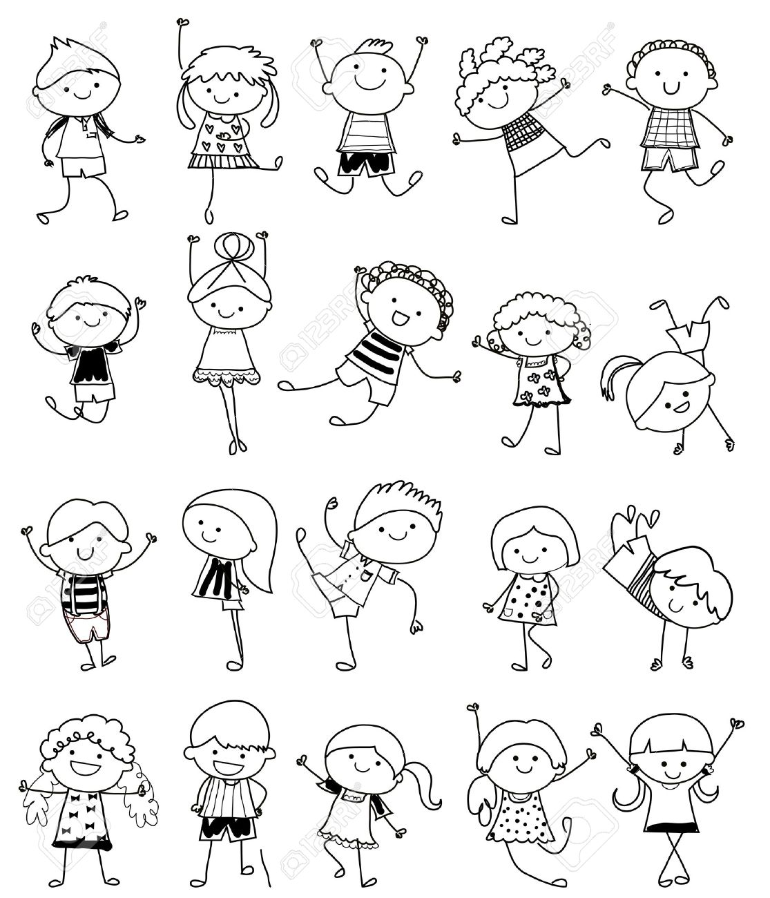 drawing sketch group of kids stock vector 33674253