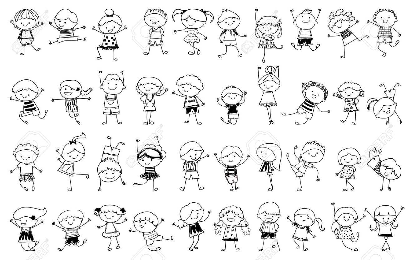 drawing sketch group of kids stock vector 33674254 - Kids Drawing Sketch