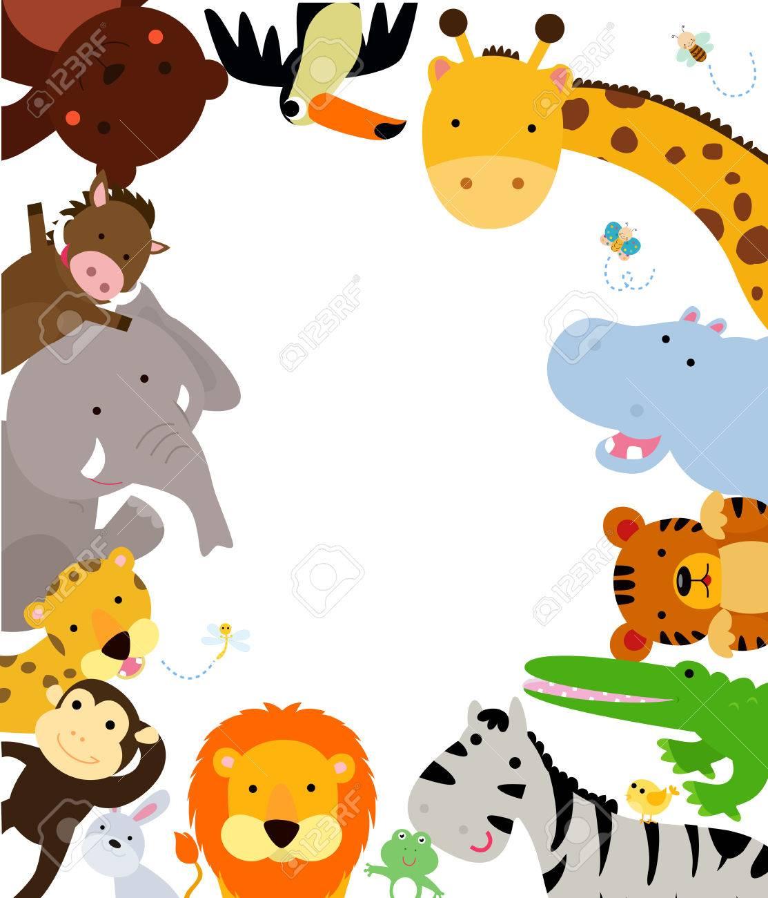 楽しいジャングル動物枠 ロイヤリティフリークリップアート、ベクター