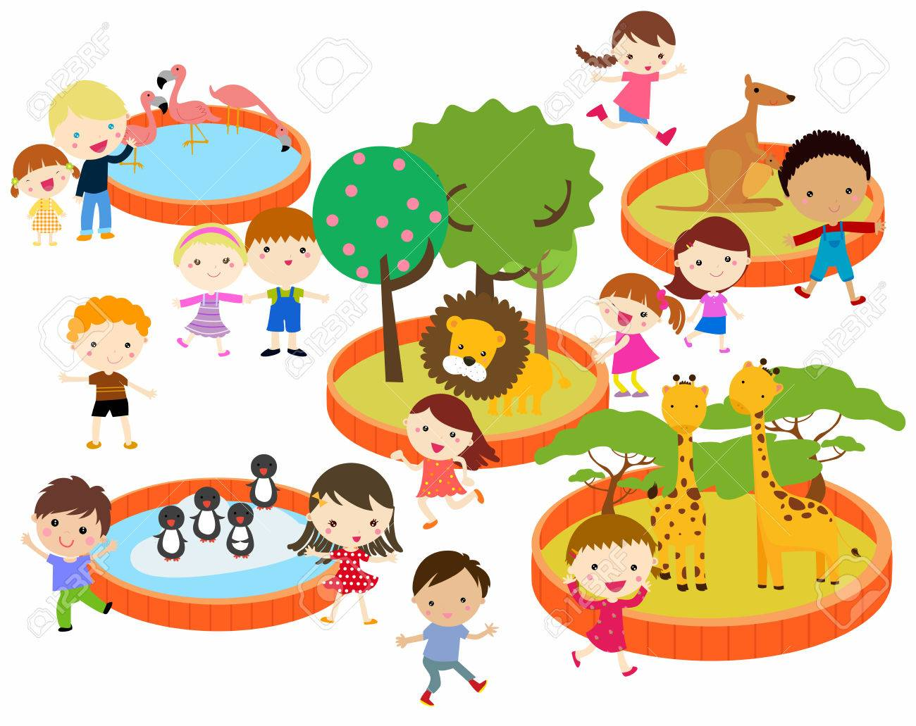 illustration of kids to the zoo - 42831512