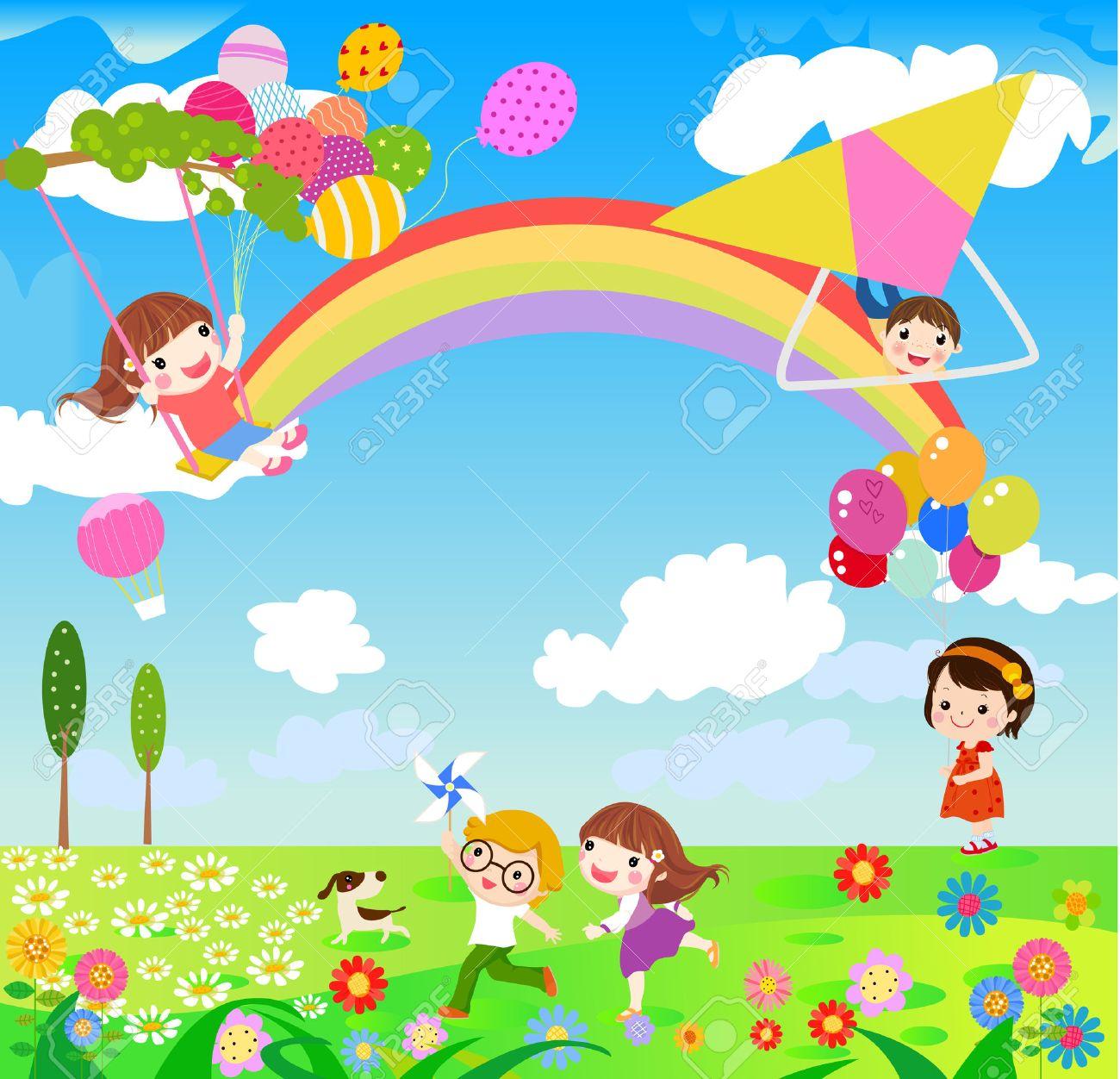 Illustration Of Children Having Fun Playing Outdoor During Spring ...