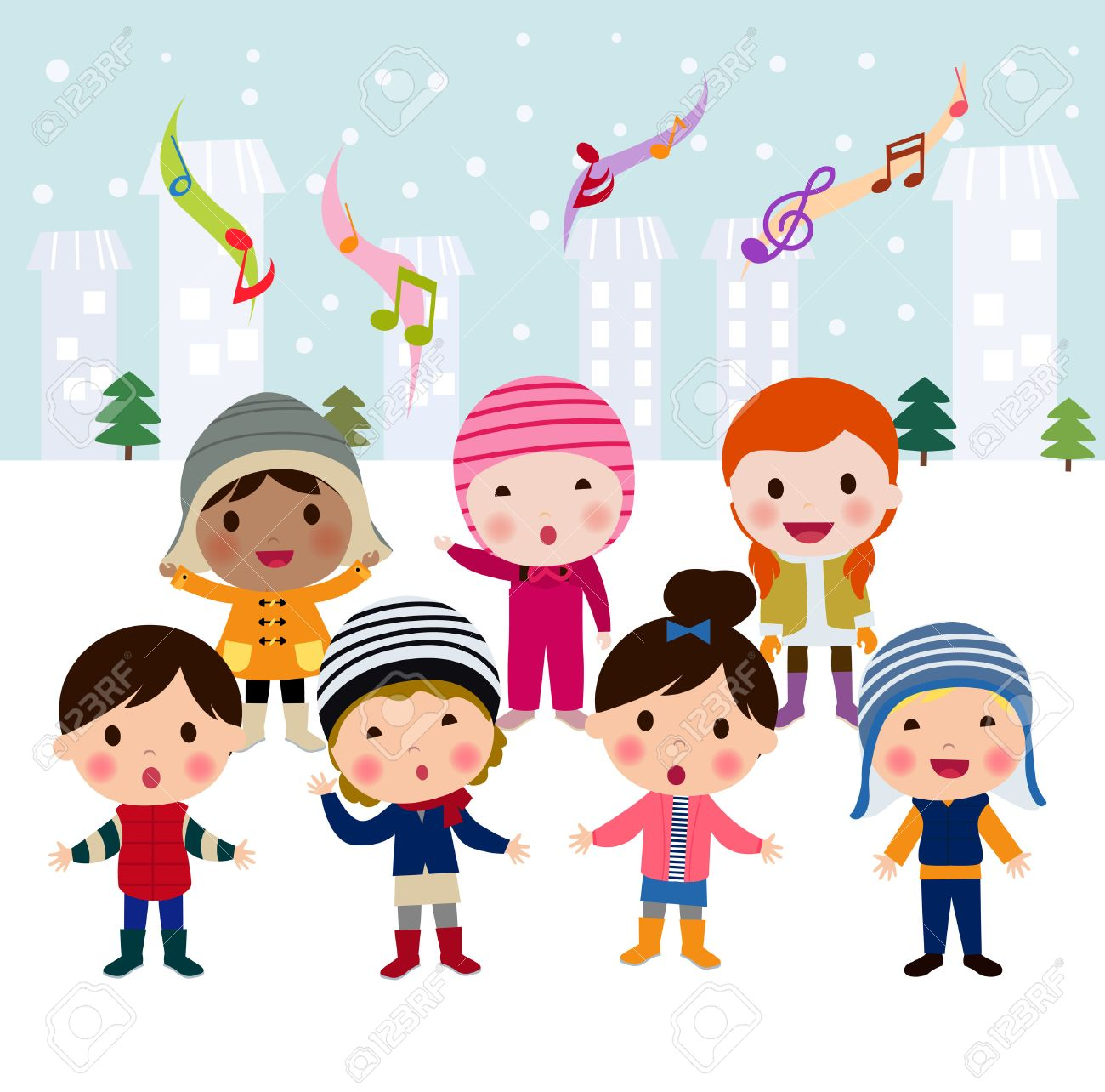 Group Of Multinational Kids Singing Christmas Carols, Cartoon ...