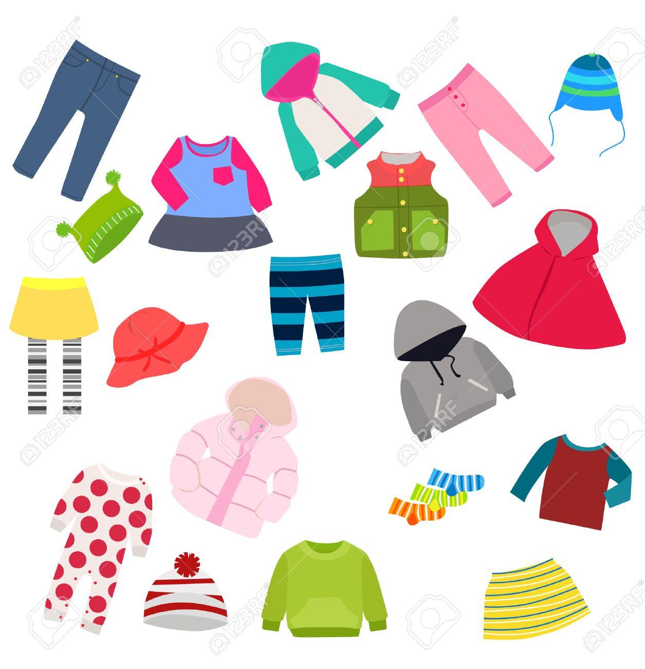 Kinderkleidung clipart  Set Von Kinderkleidung Lizenzfrei Nutzbare Vektorgrafiken, Clip ...