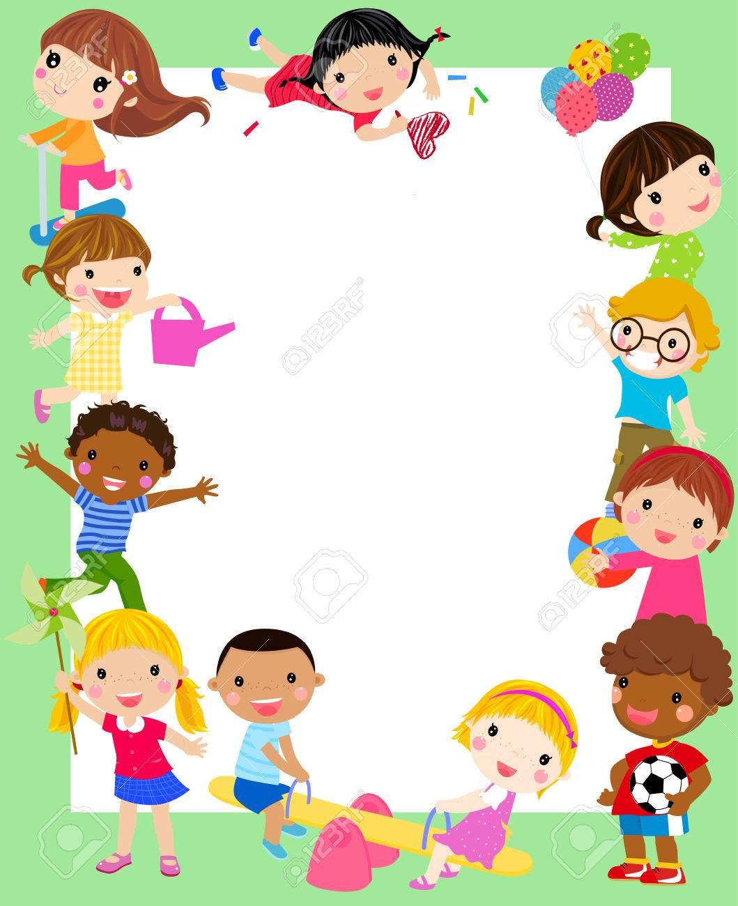 Niños Y Marco Ilustraciones Vectoriales, Clip Art Vectorizado Libre ...