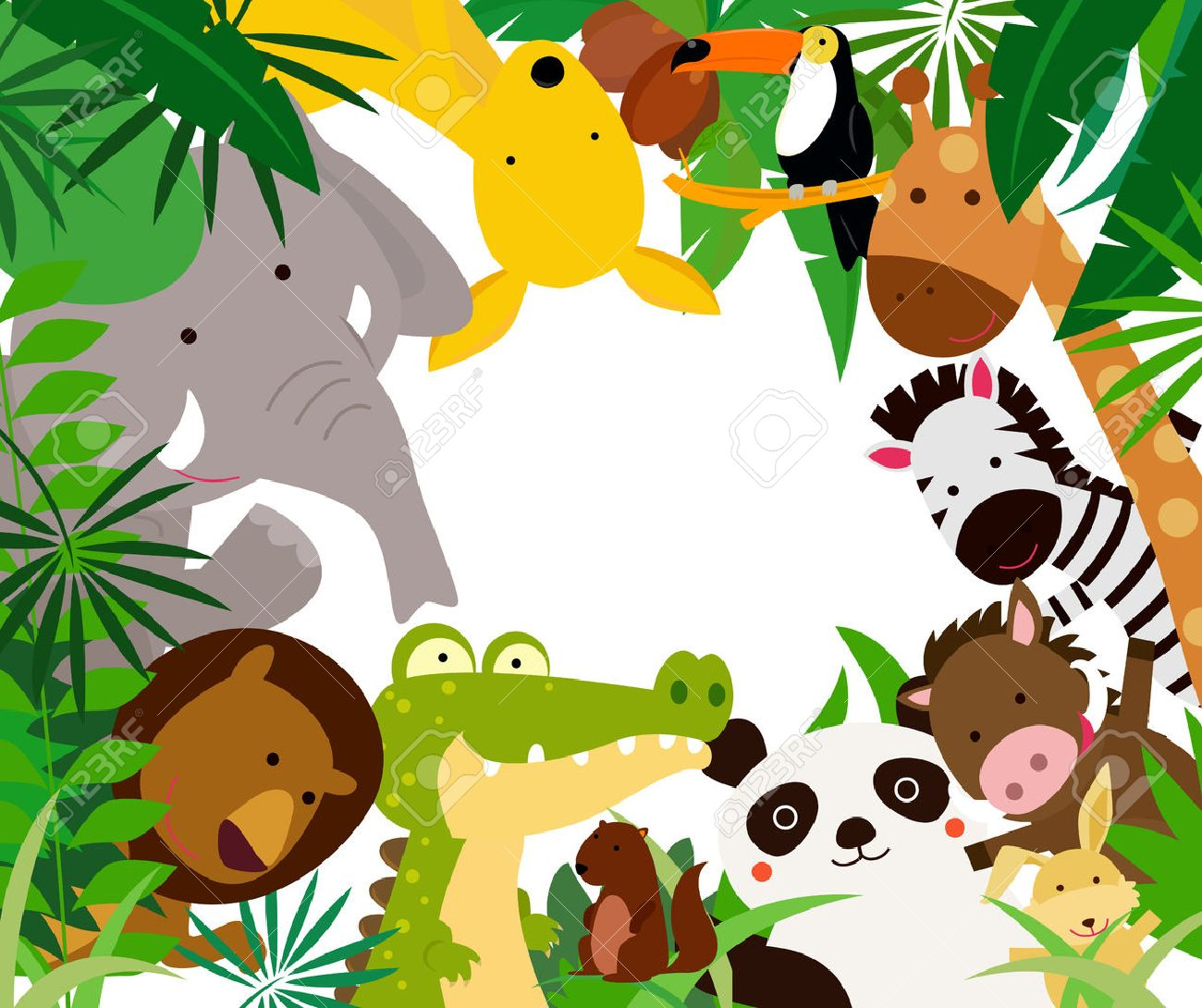 Fun Jungle Animals Border Royalty Free Cliparts, Vectors, And ...