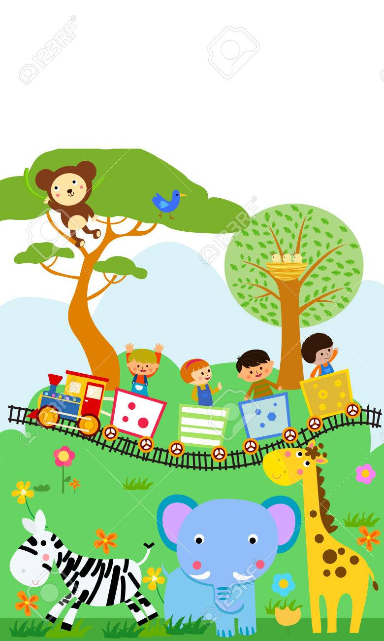 happy kids on a colorful train with animals royalty free cliparts