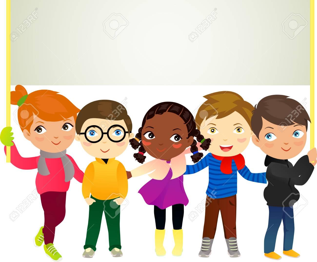 Groupe D Enfants Avec La Banniere Clip Art Libres De Droits Vecteurs Et Illustration Image 47181273