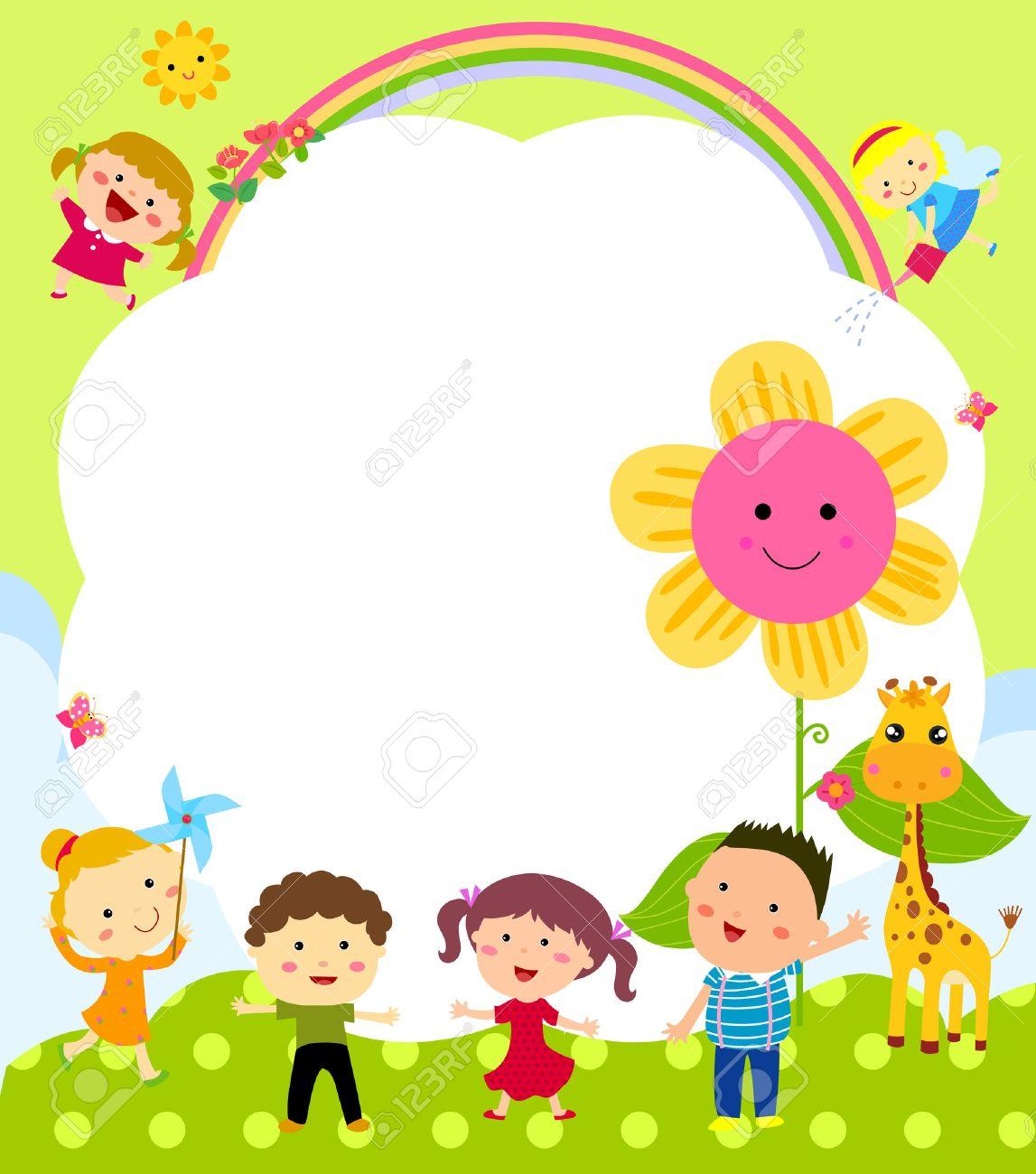 Marco Lindo Con Los Niños Ilustraciones Vectoriales, Clip Art ...