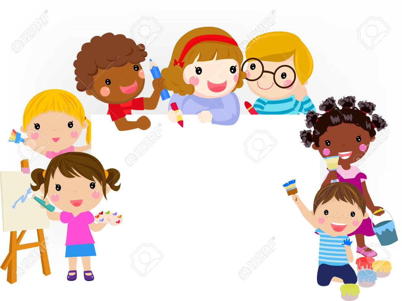 Kids Painting And Banner Royalty Free Cliparts, Vectors, And Stock ...