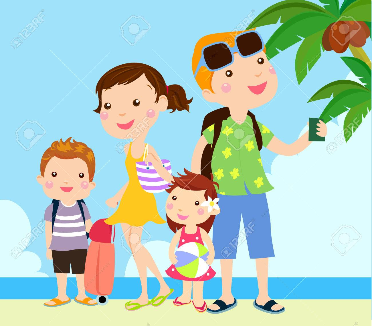 A Family At The Beach Royalty Free Cliparts Vectors And Stock