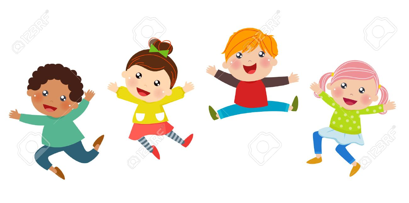An illustration of jumping kids - 50015370