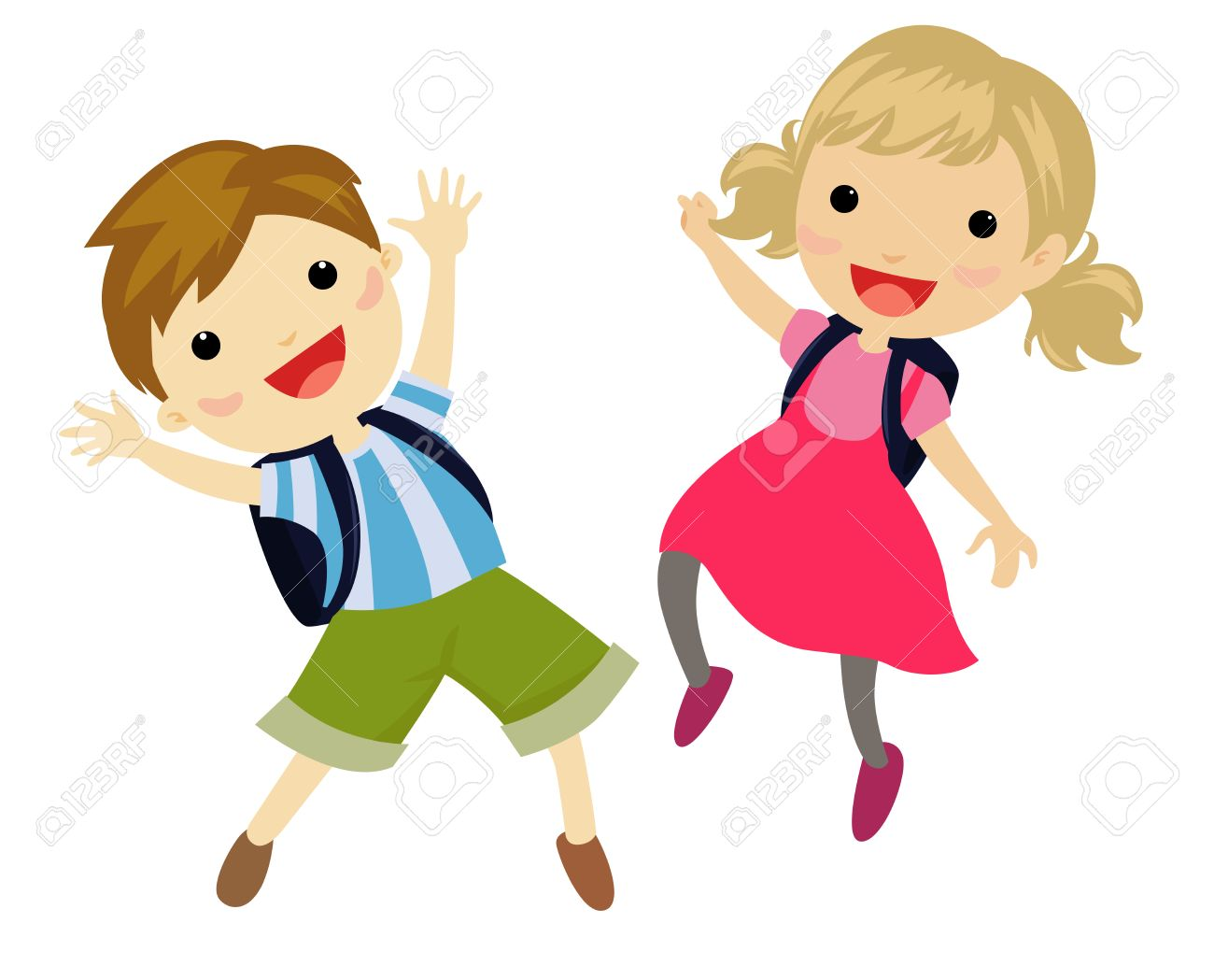 school kids jumping royalty free cliparts vectors and stock rh 123rf com school kids clip art by 2 smart chicks