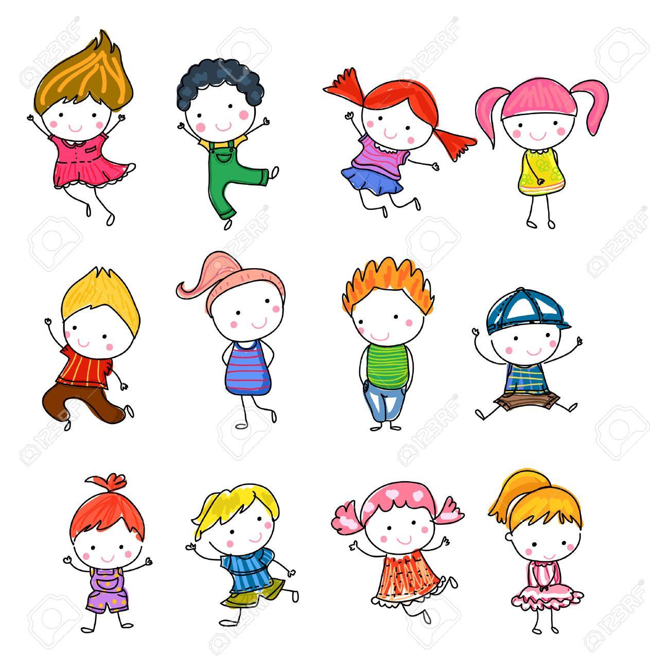 Group of kids, drawing sketch - 52394560