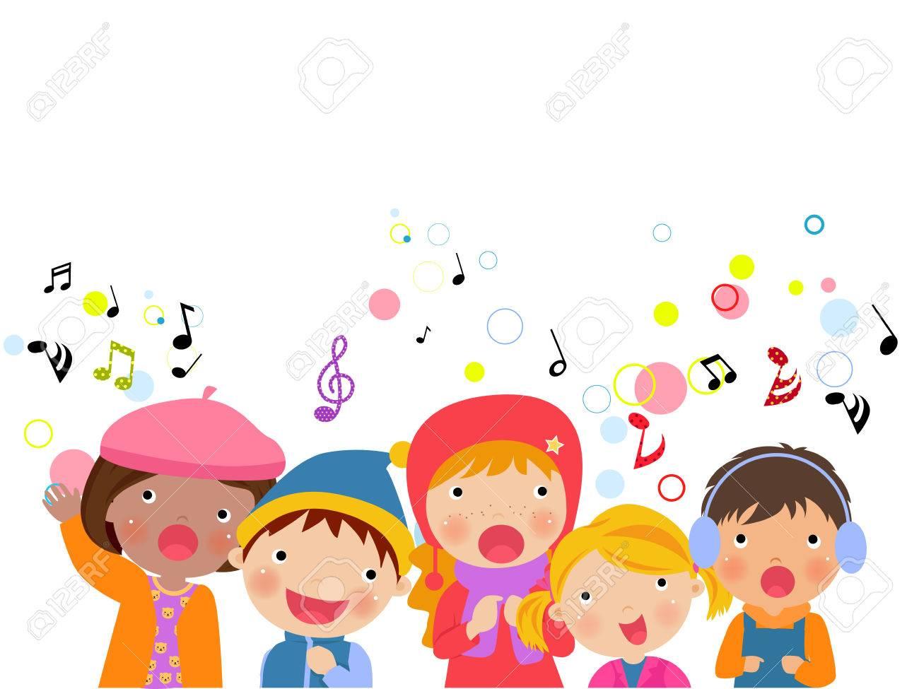 Group Of Kids Chorus Singing Christmas Songs. Royalty Free Cliparts ...