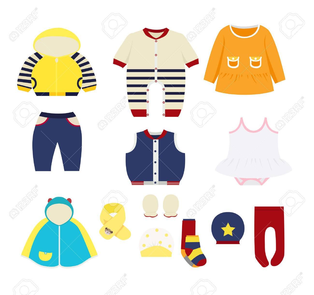 set of children's clothes design elements - 58165274