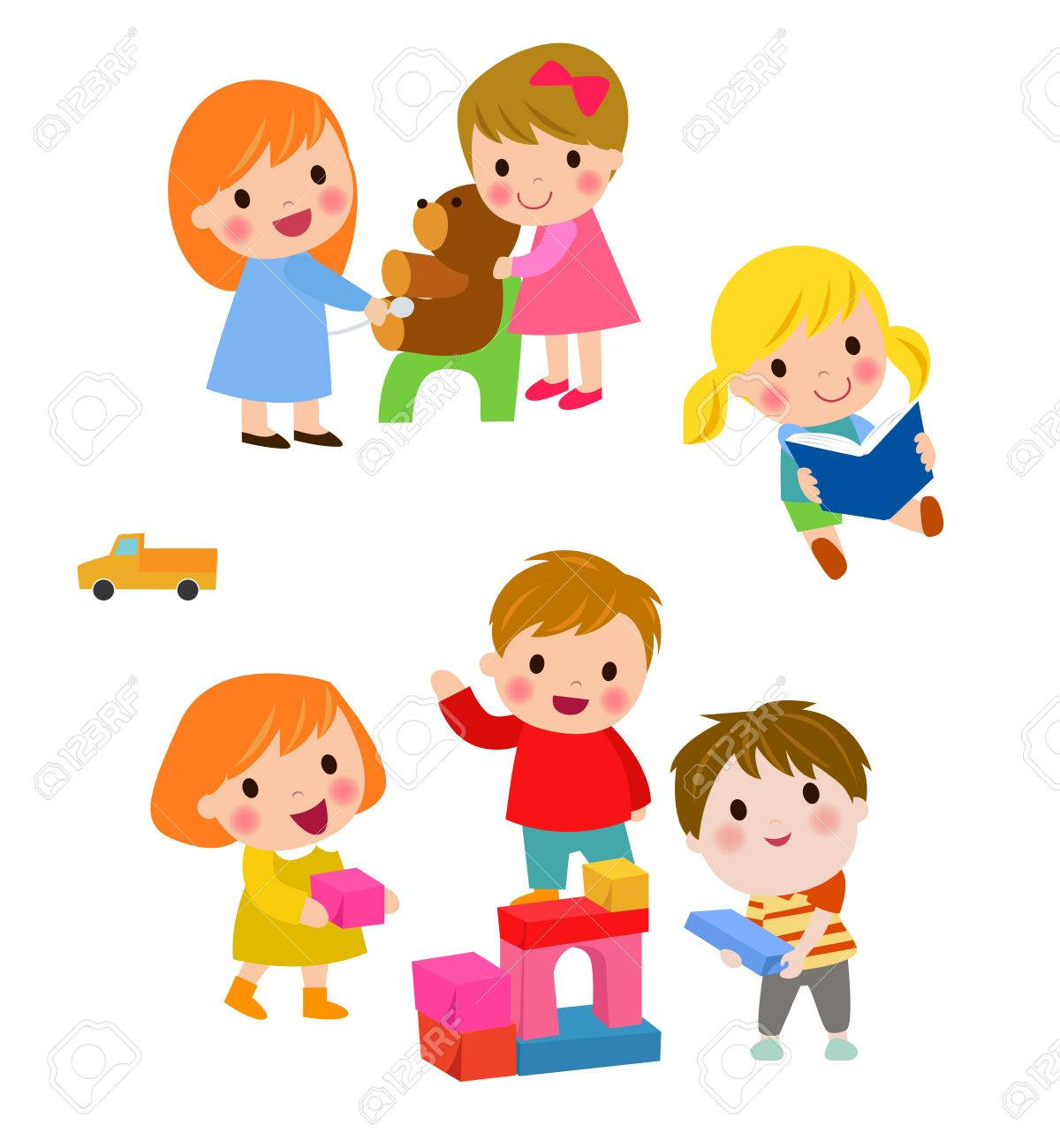 Children Play With Toys In The Kindergarten Royalty Free Cliparts