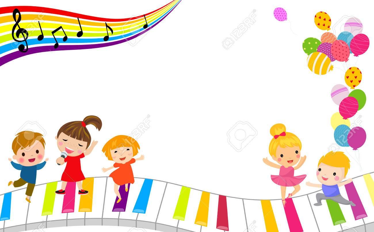 Niños Y Marco Musical Ilustraciones Vectoriales, Clip Art ...