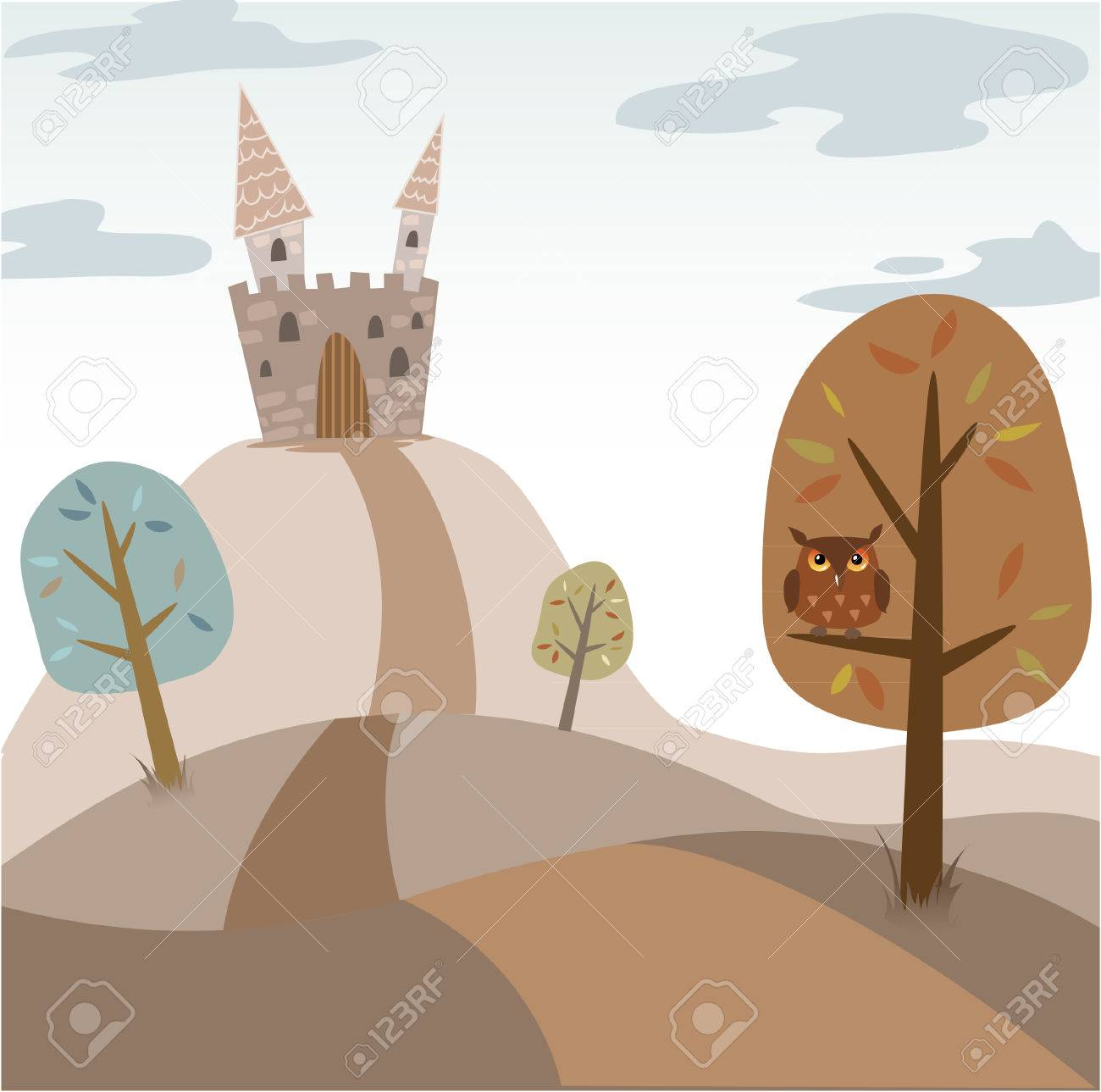 Landscape with medieval cartoon castle, trees, road and owl Stock Vector - 8399296
