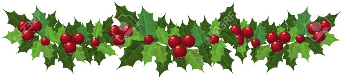 Christmas holly garland. Vector illustration Stock Vector - 8448112