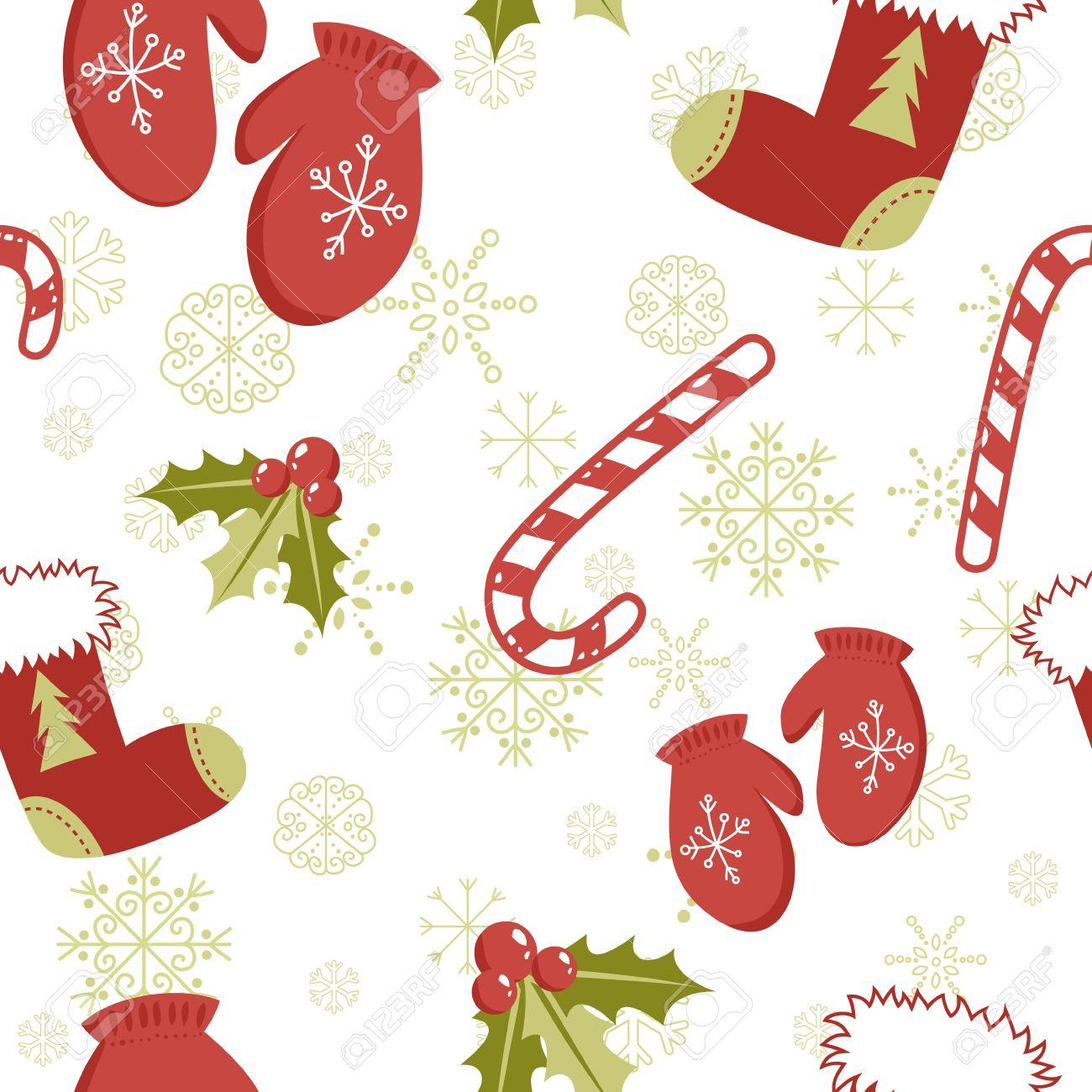 Patrón Sin Fisuras Con Lindos Dibujos Animados Mitones De Navidad ...