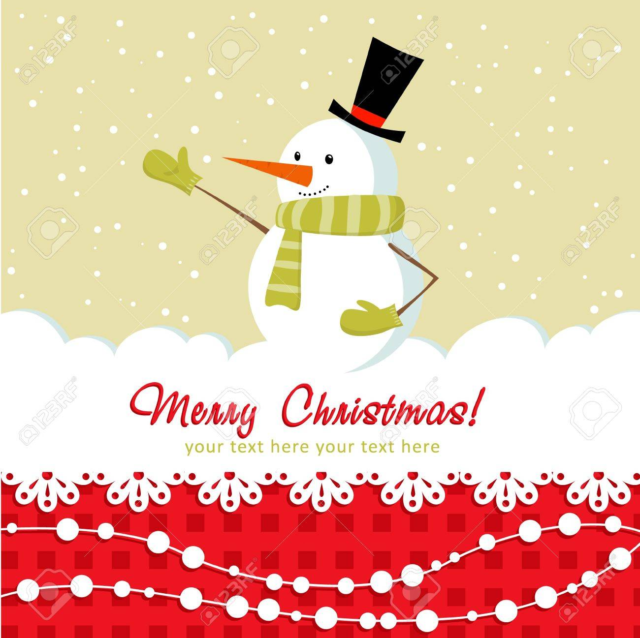 Ornate Christmas card with doodle snowman and decorative lace Stock Vector - 11591492