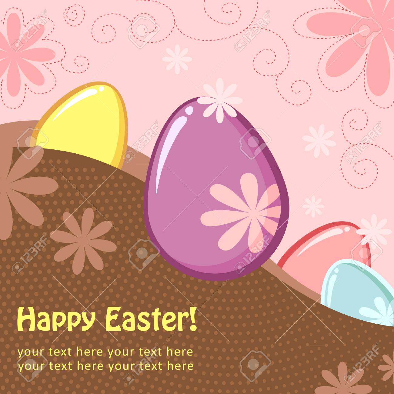 Easter greeting decorative postcard with different easter eggs Stock Vector - 11658141