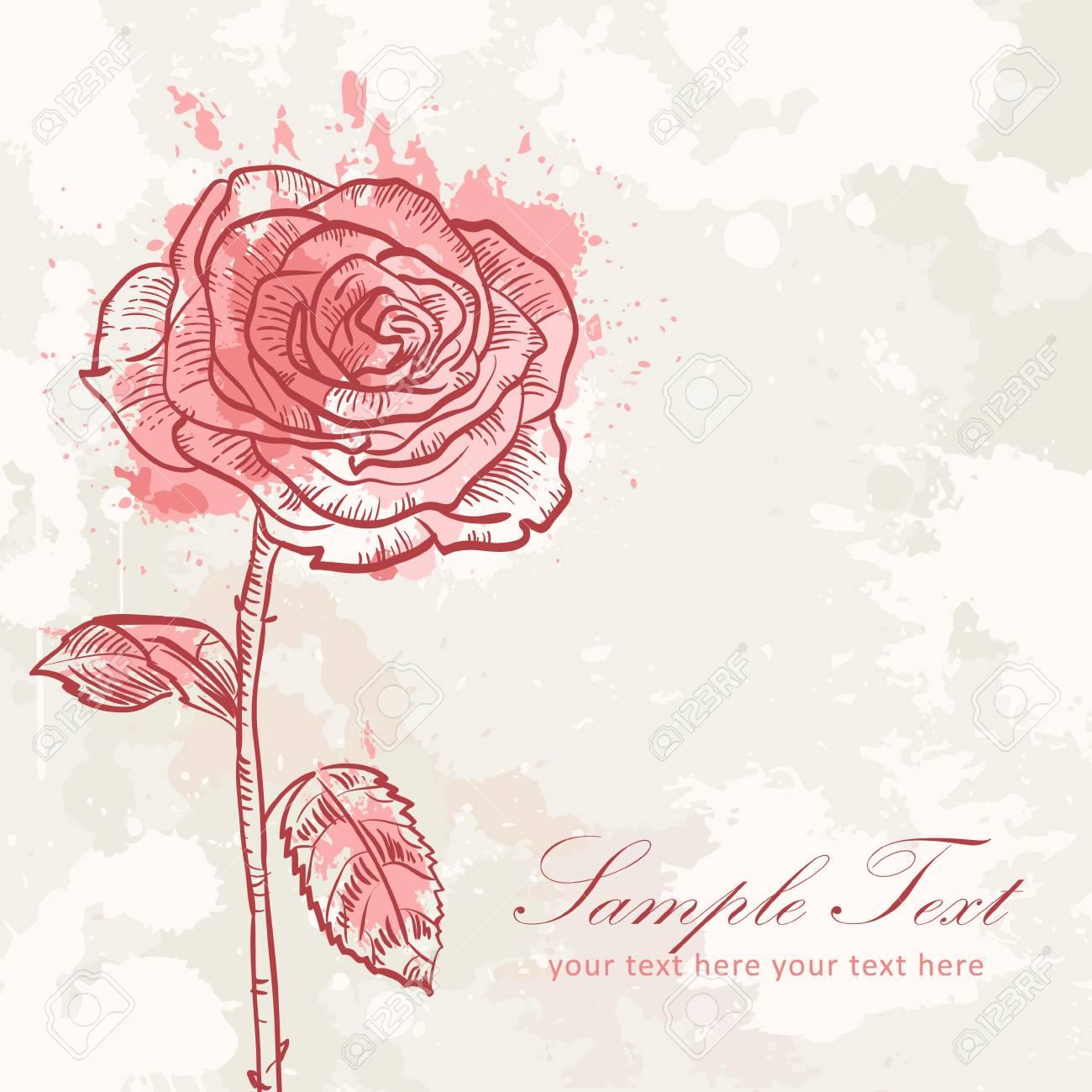 Valentine Fleur Grunge Carte De L Amour Invitation A La Rose Clip