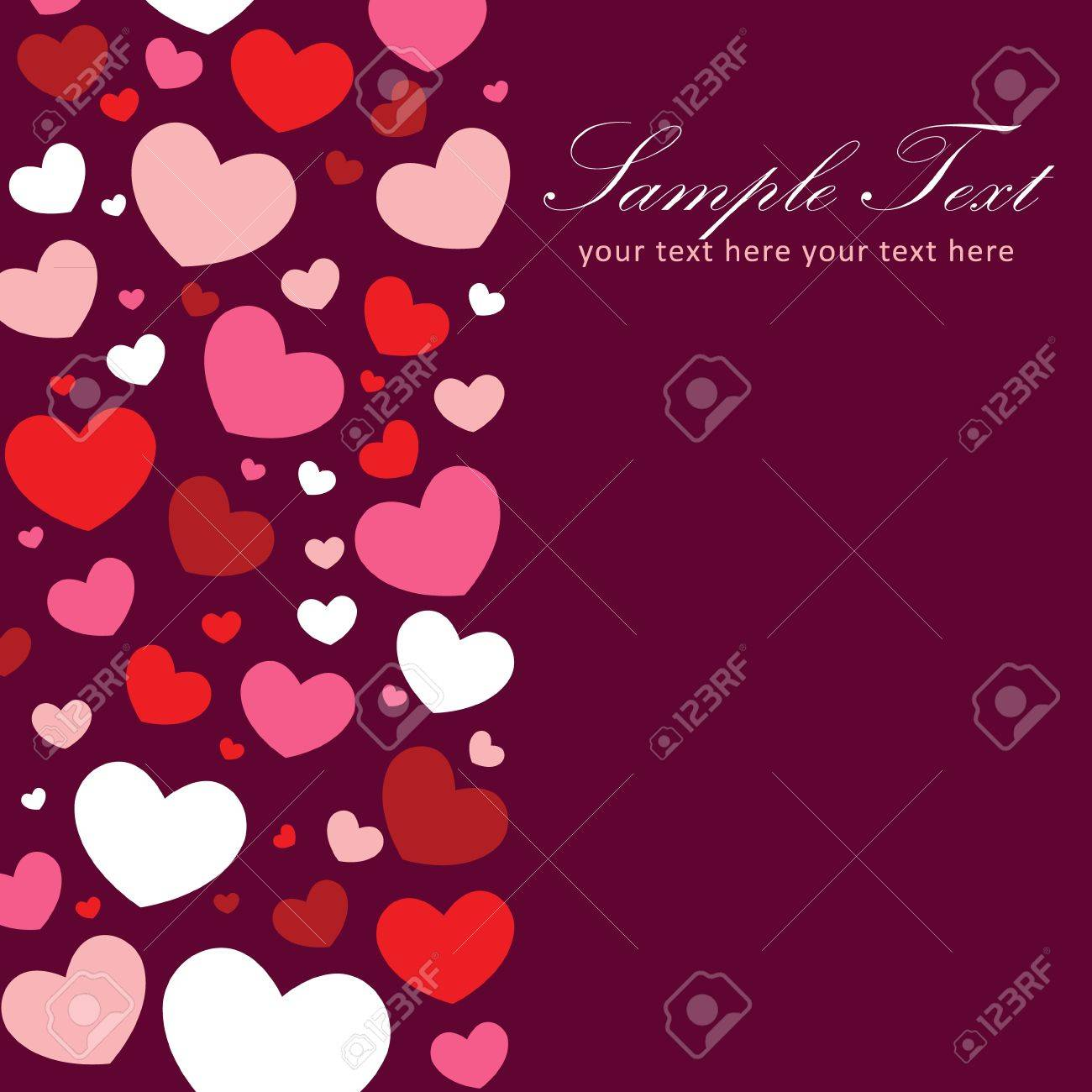 Cute Valentine love congratulation card with border of hearts Stock Vector - 11862246
