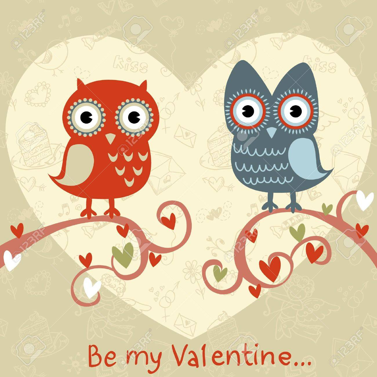 Valentine Love Card With Cute Romantic Owls And Hearts Royalty – Owl Valentine Card