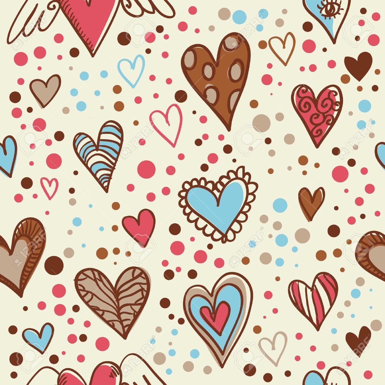 かわいい落書きシームレスな壁紙の手で描かれたバレンタイン ハートの