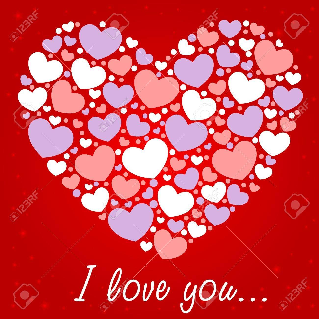 Cute Valentine love congratulation card with border of hearts Stock Vector - 11941497