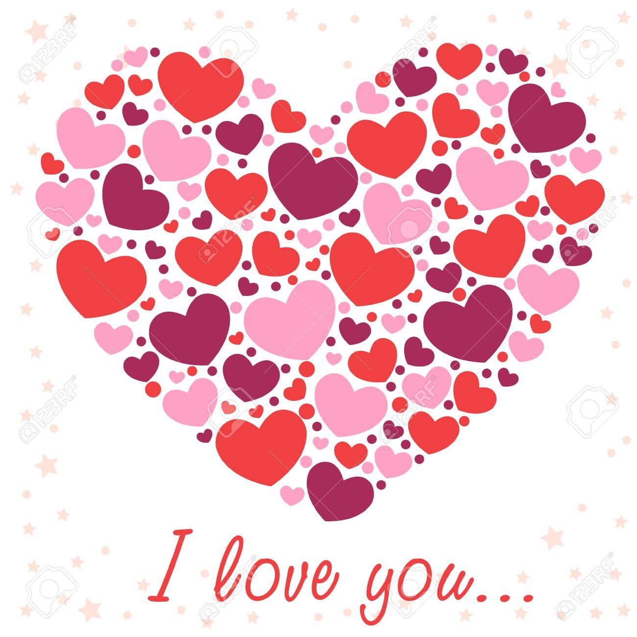Cute Valentine love congratulation card with border of hearts Stock Vector - 11941494