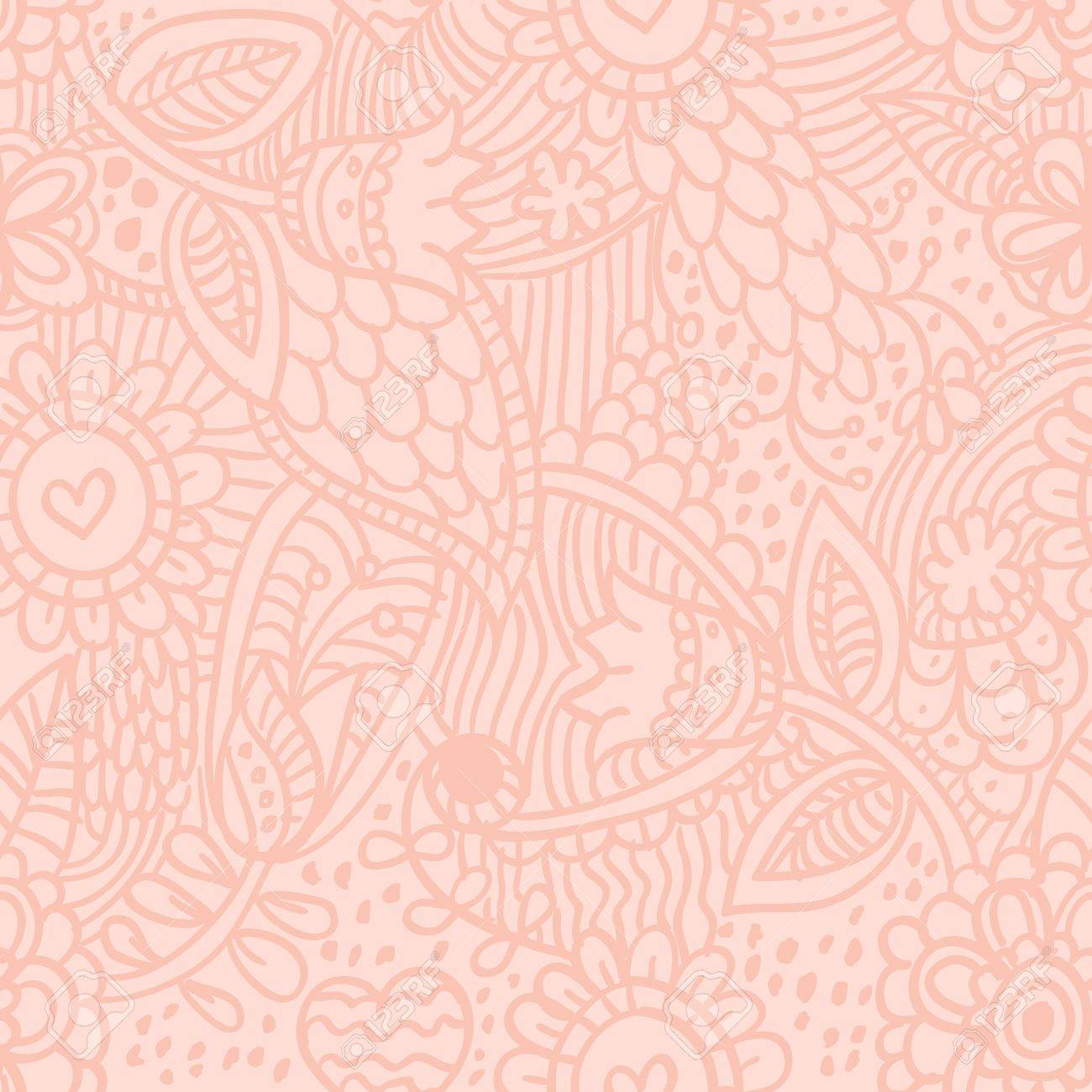 Floral seamless retro pattern with hand drawn flowers Stock Vector - 12412851