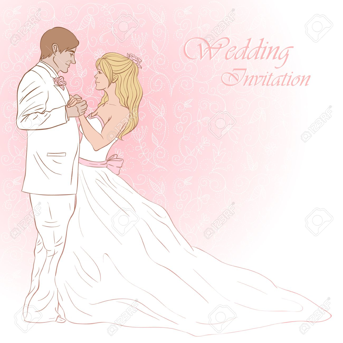 Bride And Groom Wedding Invitation Card On A Lovely Floral