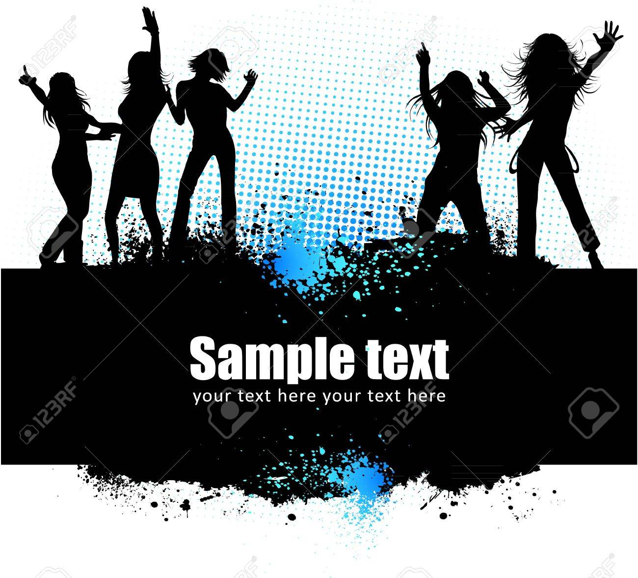 Dancing young people summer vector background text card Stock Vector - 12412910