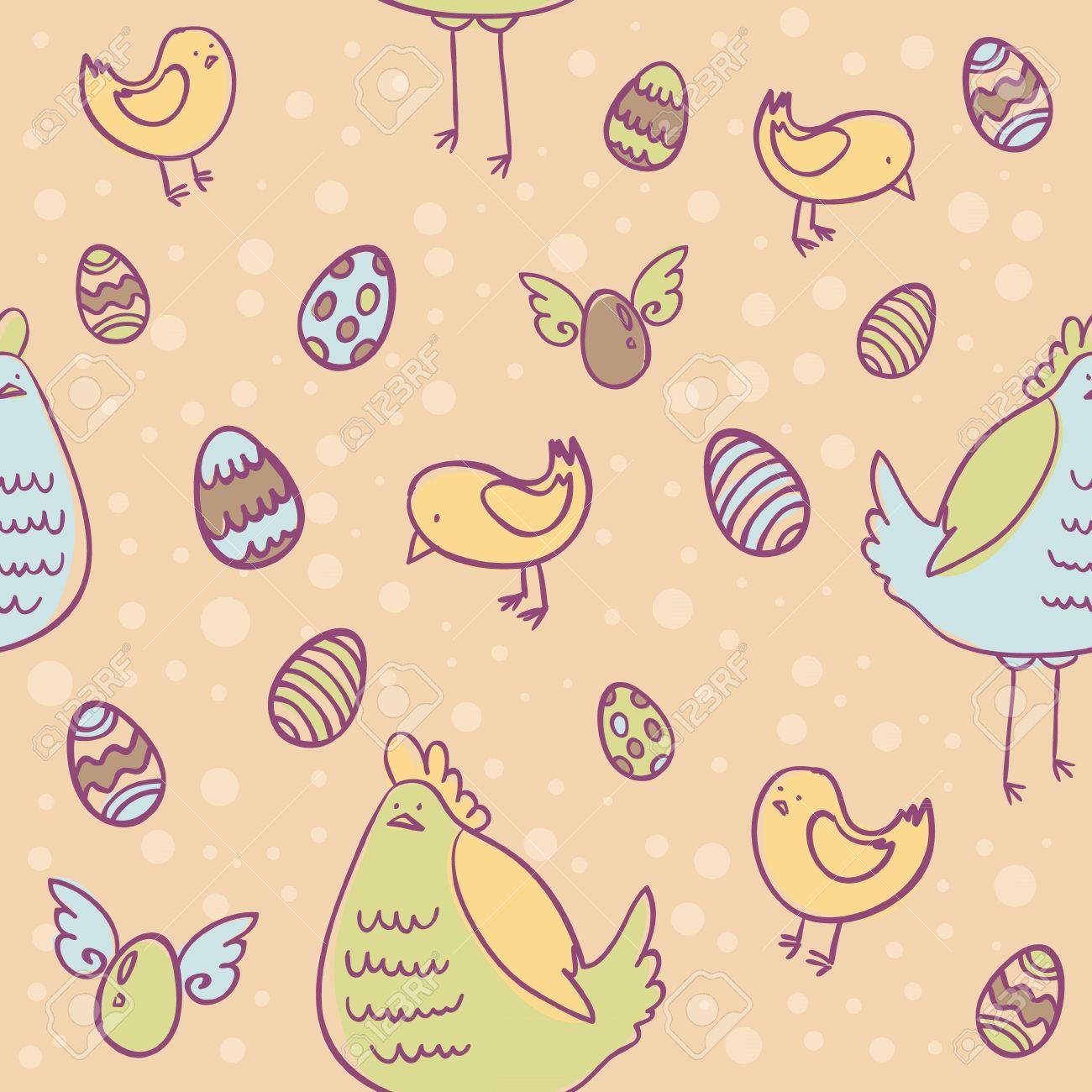Easter Eggs Hen And Chicken Cartoon Hand Drawn Seamless Texture