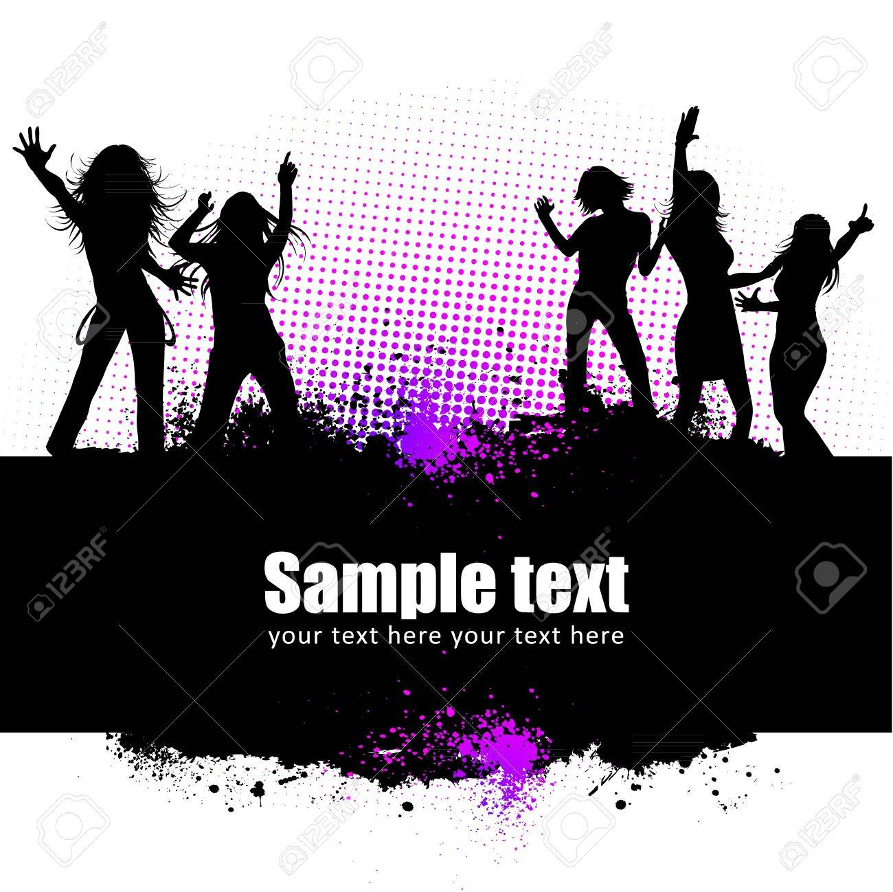 Dancing young people summer vector background text card Stock Vector - 12496922