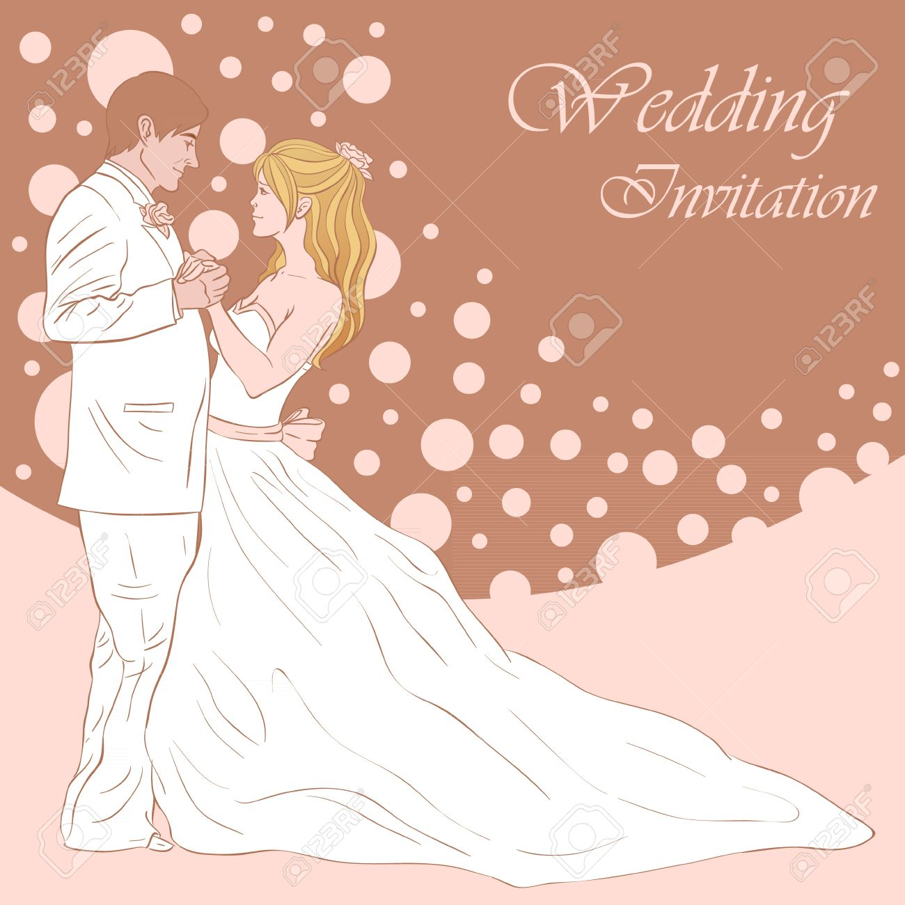 Bride And Groom Wedding Invitation Card On A Lovely Floral ...