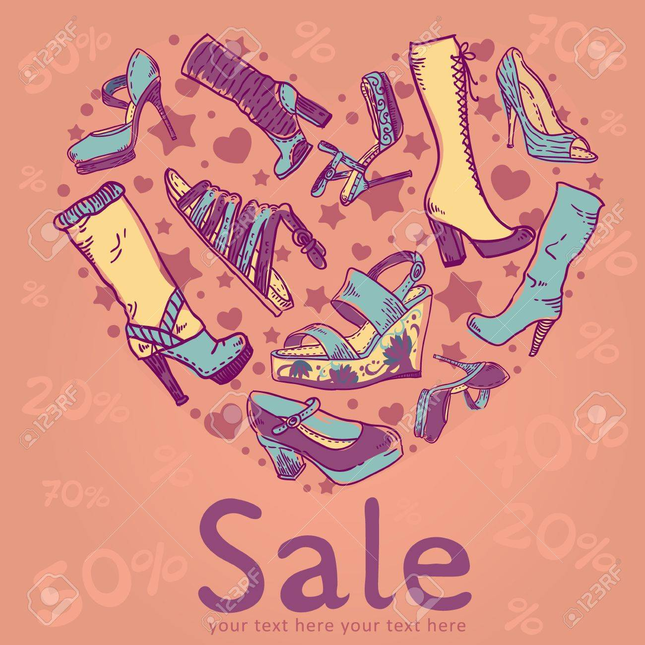 Sale discount woman shoes invitation card on colorful background Stock Vector - 13239119